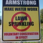 okanagan water management and conservation Drought 2015_5_Armstrong no lawn sprinkling sign Drought 2015 - Armstrong no lawn sprinkling sign